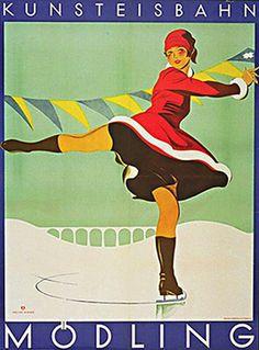 Austrian Vintage Poster 1920s ice skating