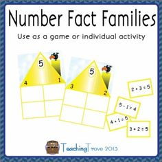 Number fact families are great for helping children see the relationship between addition and subtraction.