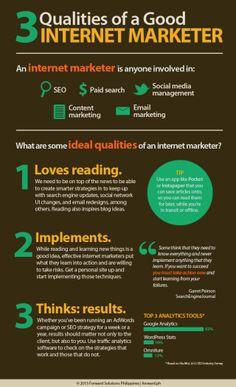 3 Qualities of a good internet marketer #infografia #infographic #marketing