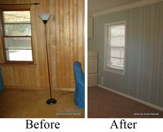 painting wood paneling. Love it! takes away that awful dark retro cave look and opens the room with a bright cottage feel. This will be so much easier than replacing all our walls with sheetrock