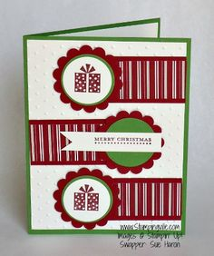Cute circles highlight the end of the Christmas colored paper