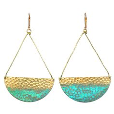 Santorini Earrings feature hammered brass pendants with a splash of verdigris polish