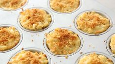 Individual Mac and Cheese in muffin cups. Yes!