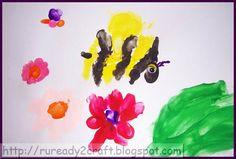 Handprint Busy Bee Craft classroom, spring kid, bees, bumblebe, fingerprint craft, handprint anim, handprint busi, kid craft, crafts