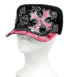 Pink Leopard Print Cross Vintage Hat with Rhinestone In Stock: $20