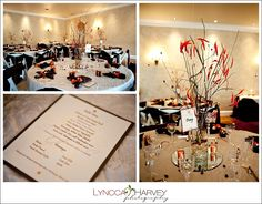 orange chili peppers hanging on trees, with chocolate brown and silver color scheme...Wedding at Northeast Wedding Chapel    www.NortheastWeddingChapel.com