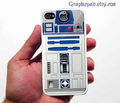 iPhone 4 Case, R2D2 iPhone 4 Case or iPhone 4s Case Cover (Black / white Color Case)Silicone Rubber case. $15.00, via Etsy.