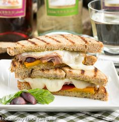 Mediterranean Grilled Cheese |  with scrumptious peppers, prosciutto, gooey provolone, olives and pesto
