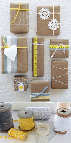 wrapping gifts #gifts #wrapping #kraft #paper #ideas
