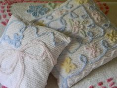I used a vintage chenille bedspread to make these pillow covers.
