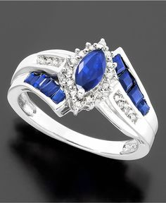 Sterling Silver Ring, Sapphire (1-1/5 ct. t.w.) and Diamond Accent Ring - Rings - Jewelry & Watches - Macy's