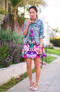 jacket, summer dresses, summer styles, floral prints, flower dresses, street styles, street style fashion, spring outfits, floral dresses