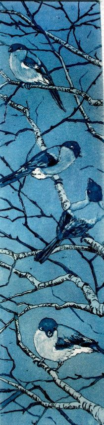 Four Fat Finches in a tree etching and by SallyWinterEtchings,
