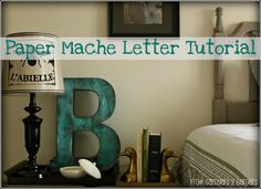 Paper Mache Letter made from Gift Boxes and Valspar Petrol Blue Spraypaint.