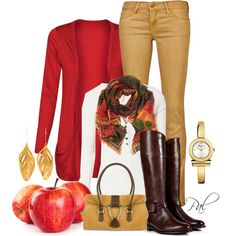 Bring on Fall, with a red cardigan, dark brown boots, scarf & mustard yellow skinny pants!