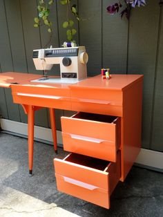 Orange sewing table