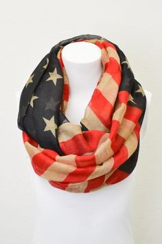 Vintage American Flag Infinity Scarf Patriotic July 4th Scarves Red White and Blue Infinity Flag Scarf Wear Infinity Scarves (on sale)