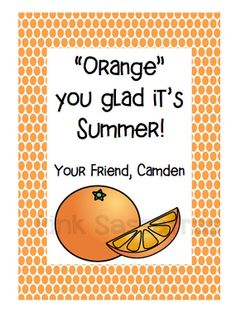 Orange You Glad It's Summer Gift Tags