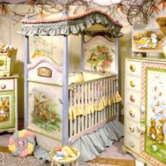 Storytime 4 Poster Crib Whimsical and Warm! Add that storybook touch of whimsy and warmth to your little one's nursery with this antique Storytime Crib. Hand painted pastoral scenes on the headboard and footboard in an antique cream. Truly a stunning work of art, it will become the main attraction in your baby's room!