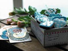 Biscuiteers Vintage hearts.. your 'something blue' for Valentine's