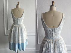 Vintage 1950s Dress  / 50s Eyelet Dress / 1950s Cotton Lace Dress / 50 Dresses / Vintage Fashion