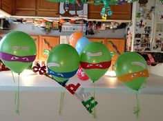 Ninja turtle birthday party balloons. Doing this instead of his regular balloon pile on birthday morning! @Lindsay Carley Knauf check these out!