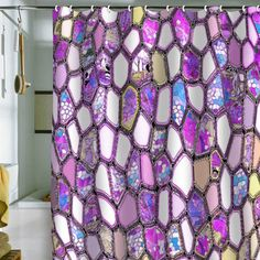 moniquesears's save of DENY Designs Home Accessories   Ingrid Padilla Violet Cells Shower Curtain on Wanelo