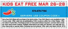 Kids eat free March 26-28 @Chilis !  Go there!