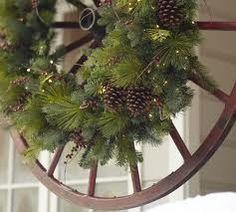 wagon wheel with wreath