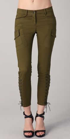 Military Cargo pants by Just Cavalli - perfect with high heels for urban & sexy look #Cargo #Pants #Lace #Just-Cavalli - http://newyorkation.com