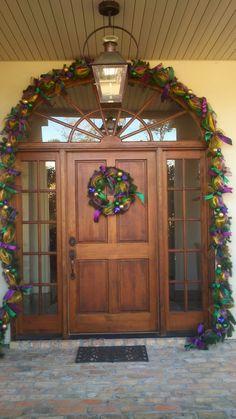 Mardi Gras Deco Mesh garland over the door and wreath