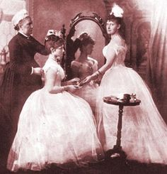 Alix's first ball, 1889. Mrs. Orchard, Alix seated and Elizabeth