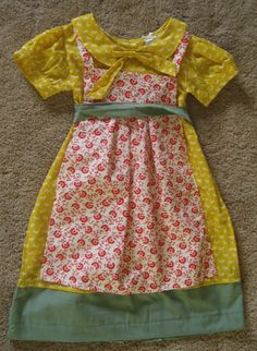 girls' dress with apron re-invented from women's blouse and dress