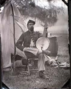 Civil War Soldier with His Banjo.