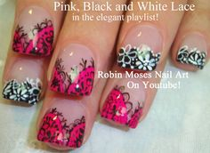 Pink Black & White Lace Nail Art