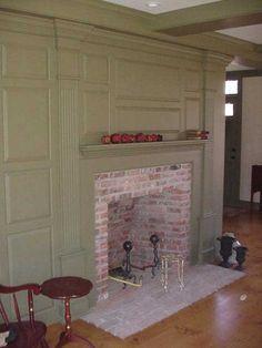 molding and fireplace coloni fireplac, fireplaces, coloni style, hous, colonialprimit decor, coloni decor, fireplac idea, fireplace wall, decor idea