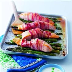 Pancetta-Wrapped Salmon with Grilled Asparagus & Lime Crème Fraîche
