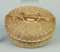 """Lawrence """"Billy"""" Shay (1912-2000) made this sweetgrass """"flat"""" basket. The sweetgrass was braided before the basket could be woven. Item # 23456 on Maine Memory Network"""