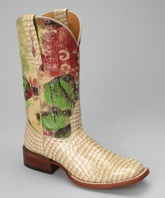 Take a look at this Cream Leather C-Toe Patent Western Boot - Women by Johnny Ringo Boots on #zulily today!