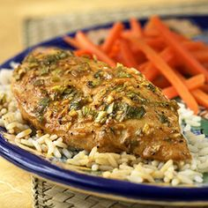 These orange-juice marinated chicken breasts make for a quick low-calorie meal.