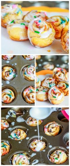Birthday Cake Cinnamon Buns. These are ready in only 20 minutes - no yeast! cake mixes, cake cinnamon, mini cakes, birthday morning, cake batter, birthday cakes
