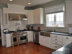 White painted cabinets with soapstone.  natashak's Kitchen