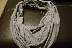 Braided Infinity Scarf  TUTORIAL Jersey knit Fabric jersey knit, infinity scarfs, braid infin, knit fabric