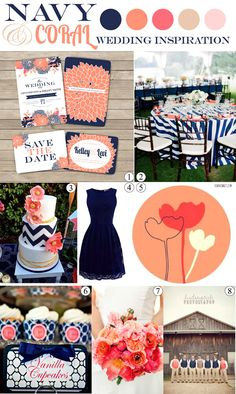 Navy and Coral Salmon Pink Wedding Inspiration Mood Board - SohoSonnet Creative Living