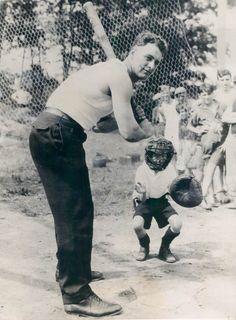 Lou Gehrig in a sandlot game, 1927