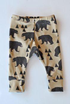 Organic tribal bear Leggings, children leggings, modern organic skinnies, baby leggings, hipster kid