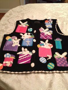 Michael Simon Easter Sweater Vest Ladies Women Medium with Bunnies and Eggs | eBay $15.99