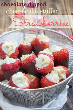 Chocolate Dipped Cheesecake Stuffed Strawberries
