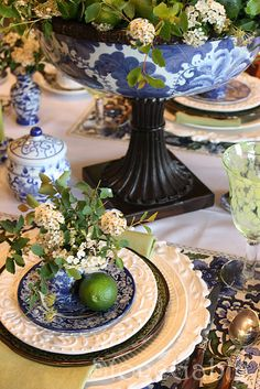 table setting with blue transfer