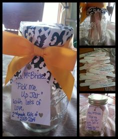 "I made a ""pick me up jar"" for teacher appreciation week for my daughter's 2nd grade teacher. I sent a little survey to the class asking what's your favorite thing about the teacher? What was your favorite thing from this year? And what is one thing you learned this year? I then took popsicle sticks, picked one thing of the survey from each child, wrote that on the stick, and put love with the child's name. I think this would be sweet to do for anyone. You could put bubble verses, say nice things and encouraging words for any occasion. :-)"